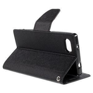 Fancy PU kožené pouzdro na Sony Xperia Z5 Compact - černé - 5