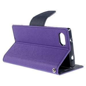 Fancy PU kožené pouzdro na Sony Xperia Z5 Compact - fialové - 5