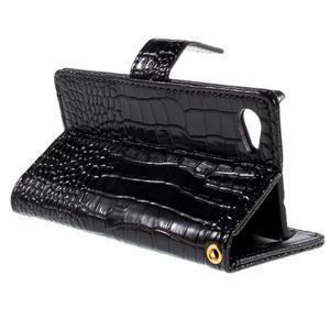 Croco peněženkové pouzdro na Sony Xperia Z5 Compact - černé - 5