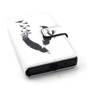 Peněženkové pouzdro na mobil Sony Xperia Z5 Compact - ptačí peříčka - 5
