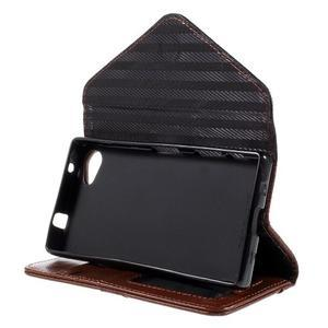 Stylové peněženkové pouzdro na Sony Xperia Z5 Compact - hnědé/černé - 5