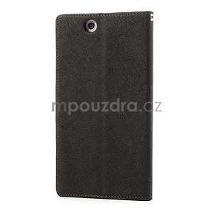 Peněženkové PU kožené pouzdro na Sony Z Ultra - černé/hnědé - 5