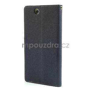 Peněženkové PU kožené pouzdro na Sony Z Ultra - tmavě modré - 5