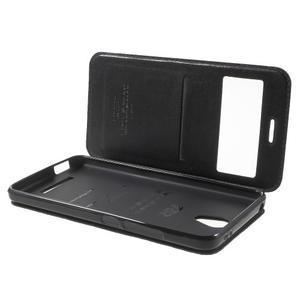 View PU kožené pouzdro s okýnkem na Xiaomi Redmi Note 2 - černé - 5