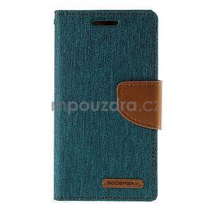 Stylové textilní/PU kožené pouzdro na Samsung Galaxy Core Prime - zelenomodré - 5