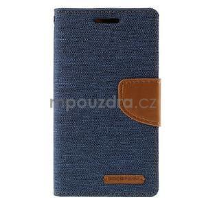 Stylové textilní/PU kožené pouzdro na Samsung Galaxy Core Prime - modré - 5