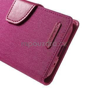 Stylové textilní/PU kožené pouzdro na Samsung Galaxy Core Prime - růžové - 5