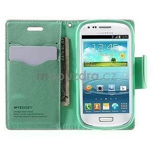 Diary peněženkové pouzdro na mobil Samsung Galaxy S3 mini - růžové/azurové - 5