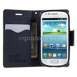 Diary peněženkové pouzdro na mobil Samsung Galaxy S3 mini - zelené/tmavěmodré - 5
