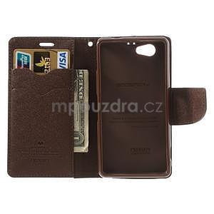 Fancy peněženkové pouzdro na Sony Xperia Z1 Compact - černé/hnědé - 5