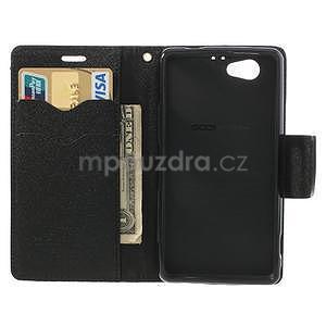 Fancy peněženkové pouzdro na Sony Xperia Z1 Compact - černé - 5