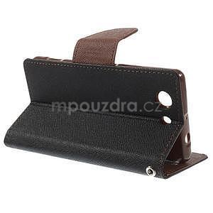 Diary peněženkové pouzdro na mobil Sony Xperia Z3 Compact - černé/hnědé - 5
