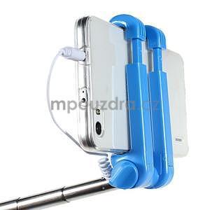 Selfie tyč s automatickým spínačem na rukojeti - světle modrá - 5