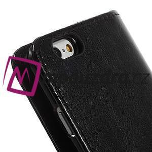 Peněženkové PU kožené pouzdro na iPhone 6, 4.7 - černé - 6