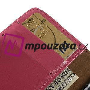 Peněženkové PU kožené pouzdro na iPhone 6, 4.7 - růžové - 6