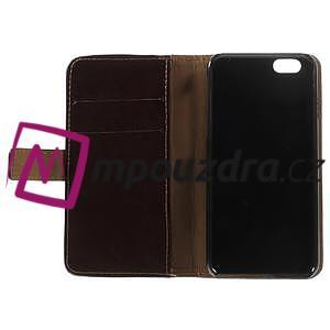 Peněženkové PU kožené pouzdro na iPhone 6, 4.7 - hnědé - 6
