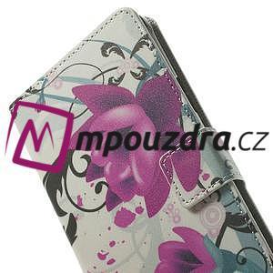Peněženkové pouzdro na Samsung Galaxy Note 4- fialový květ - 6
