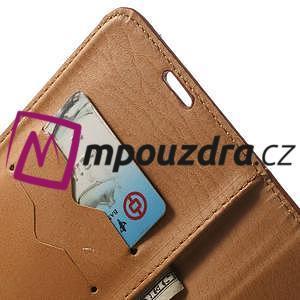 Peněženkové PU kožené pouzdro na Samsung Galaxy Note 4- hnědé - 6