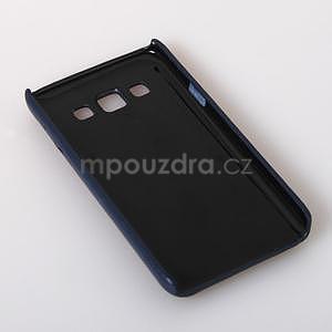 PU kožený/plastový kryt se stojánkem na Samsung Galaxy A3 - modrý - 6