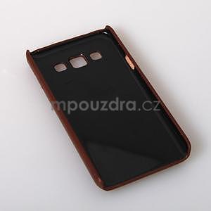 PU kožený/plastový kryt se stojánkem na Samsung Galaxy A3 - hnědý - 6