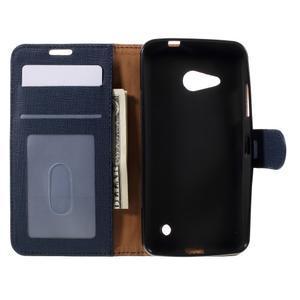 Cloth PU kožené pouzdro na mobil Microsoft Lumia 550 - tmavěmodré - 6