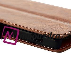 Peněženkové PU kožené pouzdro na Sony Xperia M2 D2302 - hnědé - 6