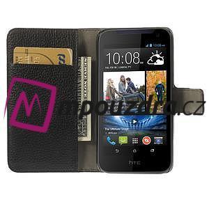 Peněženkové PU kožené pouzdro na HTC Desire 310- černé - 6