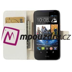 Peněženkové PU kožené pouzdro na HTC Desire 310- bílé - 6