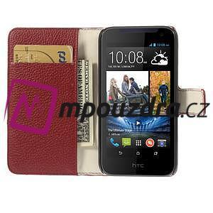 Peněženkové PU kožené pouzdro na HTC Desire 310- červené - 6