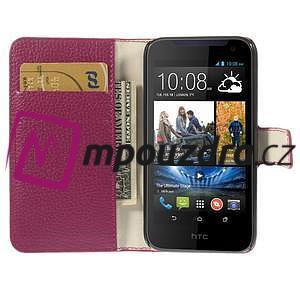 Peněženkové PU kožené pouzdro na HTC Desire 310- růžové - 6