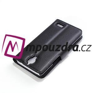 Peněženkové PU kožené pouzdro na Alcatel One Touch Idol OT-6030D- černé - 6