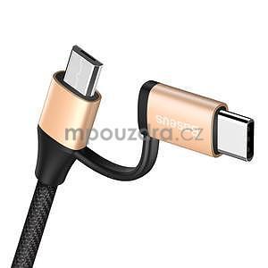 BS9 nabíjecí a propojovací kabel na USB Type-C s redukcí na micro USB - zlatý - 6