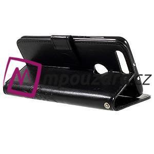 Floay PU kožené pouzdro s kamínky na mobil Honor 8 - černé - 6