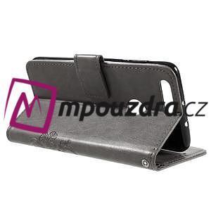 Floay PU kožené pouzdro s kamínky na mobil Honor 8 - šedé - 6
