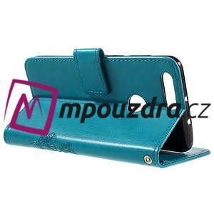 Floay PU kožené pouzdro s kamínky na mobil Honor 8 - modré - 6