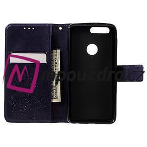 Floay PU kožené pouzdro s kamínky na mobil Honor 8 - fialové - 6