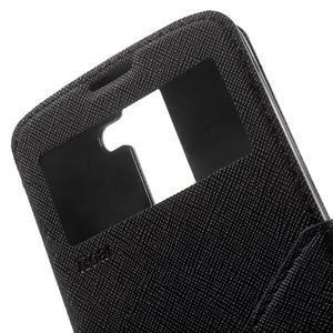 Diary PU kožené pouzdro s okýnkem na LG K8 - černé - 6