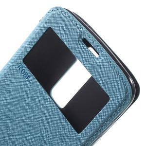 Diary PU kožené pouzdro s okýnkem na LG K8 - světlemodré - 6