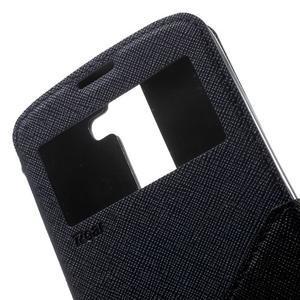 Diary PU kožené pouzdro s okýnkem na LG K8 - tmavěmodré - 6