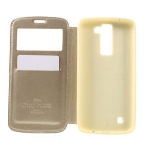 Richi PU kožené pouzdro na mobil LG K8 - zlaté - 6