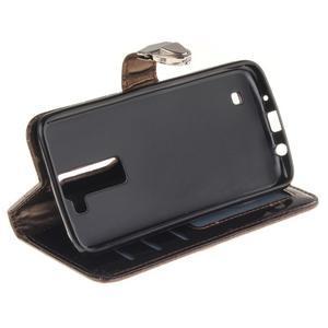Luxusní PU kožené pouzdro s přezkou na LG K8 - hnědé - 6