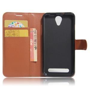 Wallet PU kožené klopové pouzdro na Acer Liquid Z6 - hnědé - 6
