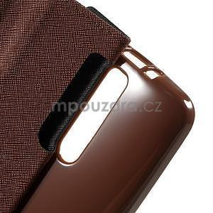 Zapínací PU kožené pouzdro na Asus Zenfone 2 ZE551ML - černé/hnědé - 6
