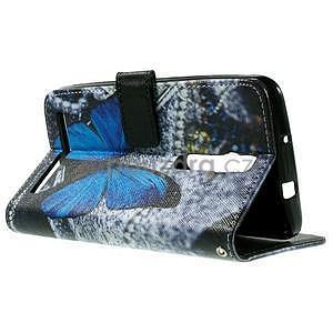 Zapínací peněženkové pouzdro na Asus Zenfone 2 ZE551ML - modrý motýl - 6