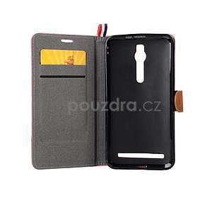 Růžové peněženkové látkové/PU kožené pouzdro pro Asus Zenfone 2 ZE551ML - 6