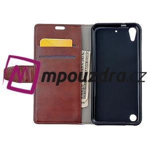 Peněženkové PU kožené pouzdro na HTC Desire 530 a Desire 630 - hnědé - 6