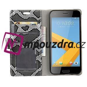 SnakeŠtýle PU kožené peňaženkové puzdro pre HTC One A9s - sivé - 6