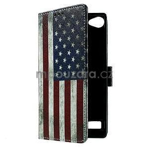 Peněženkové PU kožené pouzdro Lenovo Vibe X2 - USA vlajka - 6