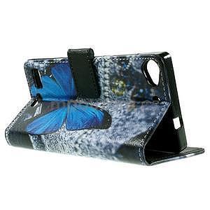 Peněženkové PU kožené pouzdro Lenovo Vibe X2 - modrý motýl - 6