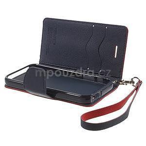 Dvoubarevné peněženkové pouzdro na iPhone 5 a 5s - červené/tmavěmodré - 6
